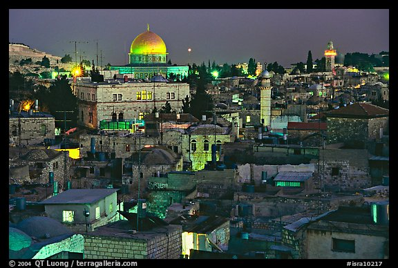 Old town roofs and Dome of the Rock by night. Jerusalem, Israel