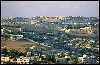 Old town skyline with remparts and Dome of the Rock. Jerusalem, Israel ( color)