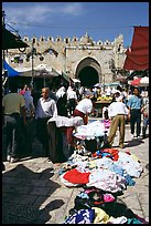 Street market inside the old town next to the remparts. Jerusalem, Israel (color)