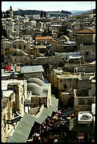 Crowded streets and roofs of the old town. Jerusalem, Israel (color)