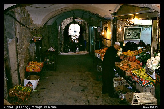 Fruit and vegetable store in an old town archway. Jerusalem, Israel (color)