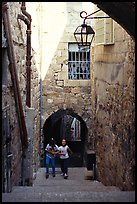 Children on stairs of an old alley. Jerusalem, Israel ( color)