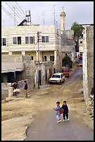 Two schoolchildren in a street of East Jerusalem. Jerusalem, Israel ( color)