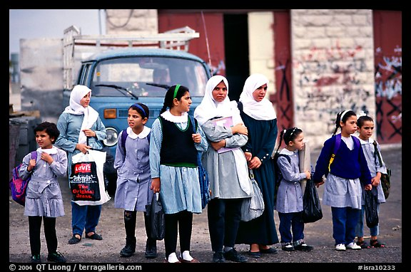 Muslem women and girls, East Jerusalem. Jerusalem, Israel (color)