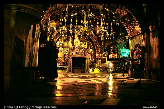 Decorated chapel inside the Church of the Holy Sepulchre. Jerusalem, Israel (color)