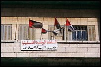 Palestinian flags and inscriptions in arabic in front of a school, East Jerusalem. Jerusalem, Israel