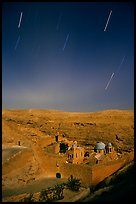 Star trails above the Mar Saba Monastery. West Bank, Occupied Territories (Israel) ( color)