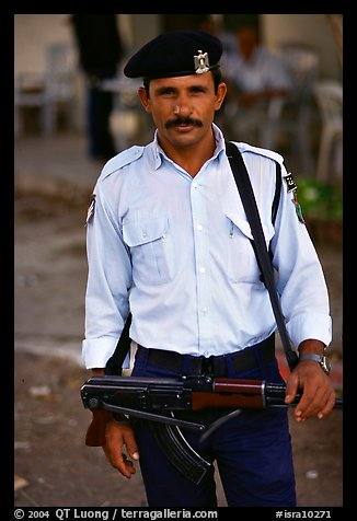Palestinian Policeman, Jericho. West Bank, Occupied Territories (Israel)