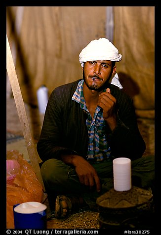 Bedouin man in a tent, Judean Desert. West Bank, Occupied Territories (Israel) (color)