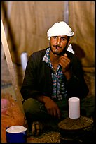 Bedouin man in a tent, Judean Desert. West Bank, Occupied Territories (Israel) ( color)