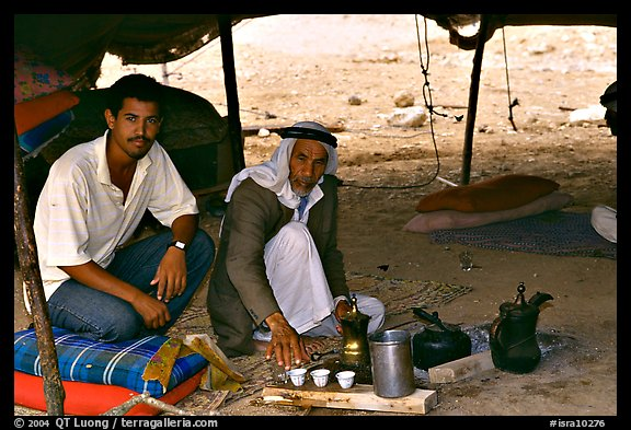 Bedouin men offering tea in a tent, Judean Desert. West Bank, Occupied Territories (Israel) (color)