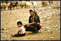Bedouin woman and child, Judean Desert. West Bank, Occupied Territories (Israel)