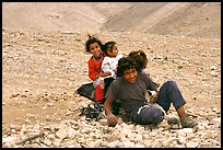 Bedouin children playing, Judean Desert. West Bank, Occupied Territories (Israel) ( color)