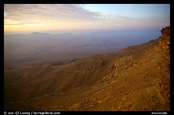 Maktesh Ramon (Wadi Ruman) Crater, sunrise. Negev Desert, Israel (color)