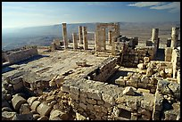 Ruins of the Nabatean Acropolis sitting on a hill, Avdat. Negev Desert, Israel (color)