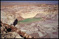 Shallow pond and colored rocks, near Mitzpe Ramon. Negev Desert, Israel