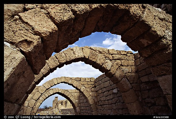 Ancient arches, Crusader City,  Caesarea. Israel