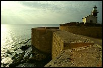 Seawall and lighthouse, late afternoon, Akko (Acre). Israel ( color)