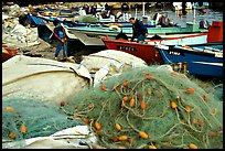 Fishing nets and boats, Akko (Acre). Israel (color)