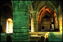 Huge columns in the Knights Hospitalliers quarters, Akko (Acre). Israel (color)
