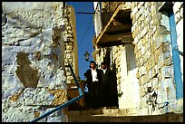 Orthodox jews in a narrow alley, Safed (Tsfat). Israel ( color)