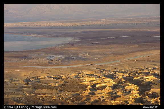 South End of the Dead Sea seen from Masada. Israel (color)
