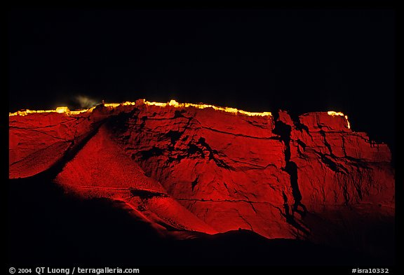 Summit plateau illuminated at night, Masada. Israel