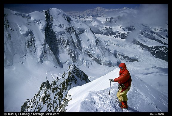 Alpinist near the top of Monte Rosa,  Switzerland.  (color)