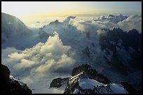 View of the upper Vallee Blanche Basin with Aiguille du Midi, Mont-Blanc range, French Alps.