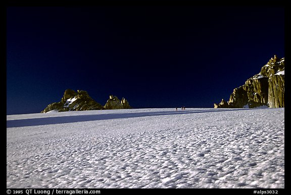 On the gentle Trient Glacier, similar to a snow field with no open crevasses, Mont-Blanc range, Alps, Switzerland.  (color)