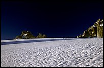 On the gentle Trient Glacier, similar to a snow field with no open crevasses, Mont-Blanc range, French Alps
