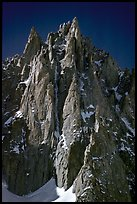 The Super-Couloir on Mt Blanc du Tacul is the very steep and narrow gully, Mont-Blanc Range, Alps, France.