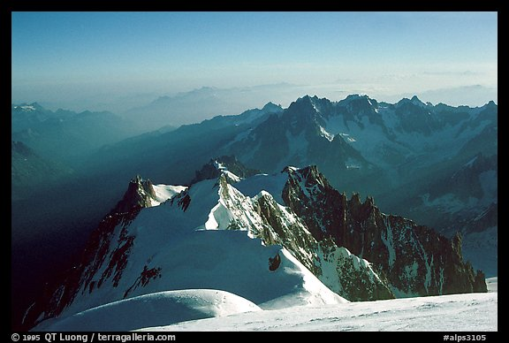 Mount Maudit, Mont-Blanc du Tacul and Aiguille du Midi seen from summit of Mont-Blanc, France.  (color)