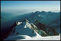 Looking from the summit of Mont-Blanc towards Aiguille du Midi. Mt Maudit and Mont-Blanc du Tacul are seen in between.
