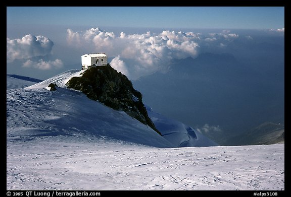 Vallot hut  emergency shelter, Mont-Blanc, France.  (color)