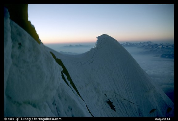 Cornice on the Kuffner ridge of Mt Maudit, Italy and France.  (color)