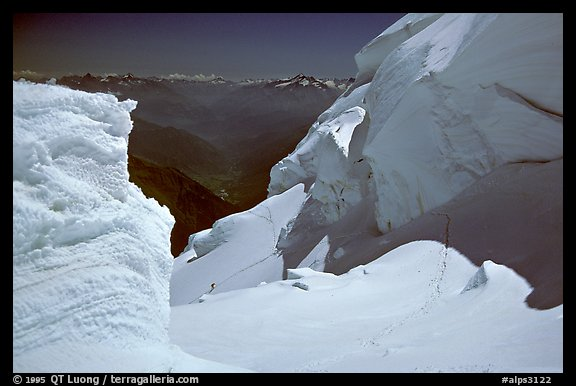 Serac system at the top of the Brenva Spur, Mont-Blanc, Italy.  (color)