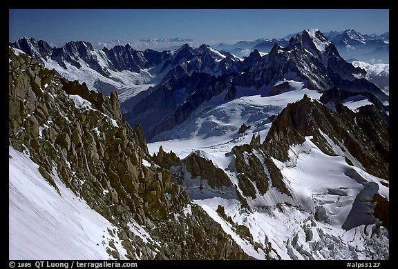 Looking down from the Red Sentinel route, Mont-Blanc, Italy and France.  (color)