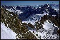 Looking down from the Red Sentinel route, Mont-Blanc, Italy and France.