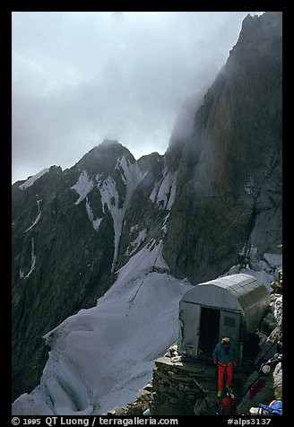 Eccles shelter at the base of the Freney Pillars, Mont-Blanc, Italy.  (color)