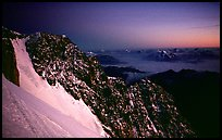 Sunset over Brouillard ridge, just under the summit of Mont-Blanc, Italy.