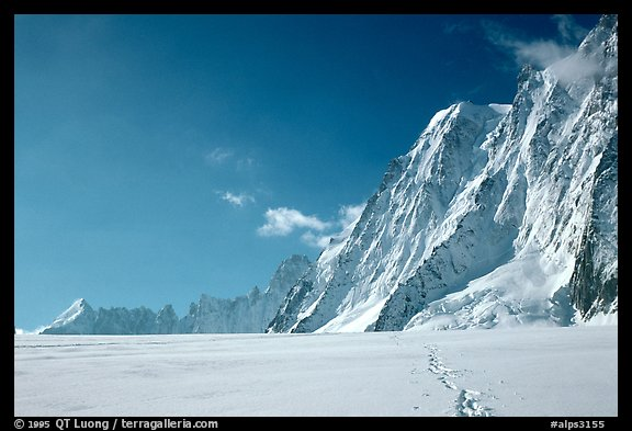 North faces of Les Droites and Les Courtes, seen from the Argentiere Glacier. Alps, France (color)