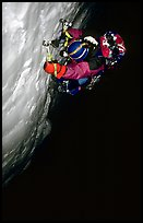 Frank Levy at night,  North face of Les Droites,  Mont-Blanc Range, Alps, France. (color)
