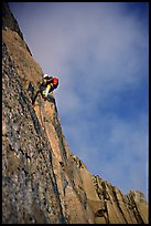 Paul leading on Bonatti Pilar on Le Dru, Mont-Blanc Range, Alps, France. (color)