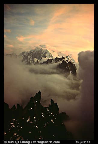 Mont Blanc and approaching storm clouds seen from Les Drus. Mont-Blanc range, French Alps