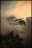 Mont Blanc and approaching storm clouds seen from Les Drus. Alps, France