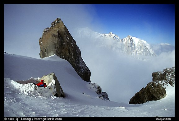 Bivy at the base of Dent du Geant, Mont-Blanc Range, Alps, France.