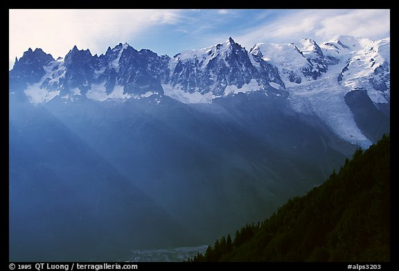 Mont Blanc range and Chamonix Valley. Alps, France