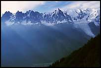 Mont Blanc range and Chamonix Valley, French Alps.