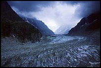 Mer de Glace (sea of ice), the second longest glacier in the Alps, seen from Montenvers. Alps, France (color)
